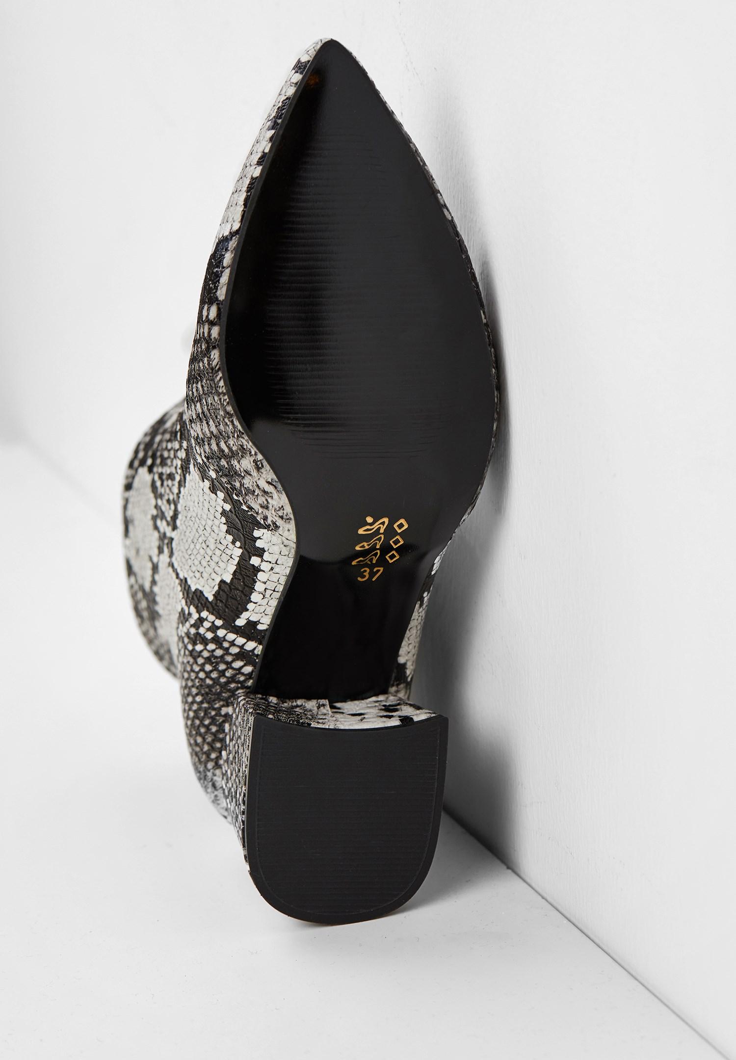 Women Mixed Snakeskin High Heel Boot