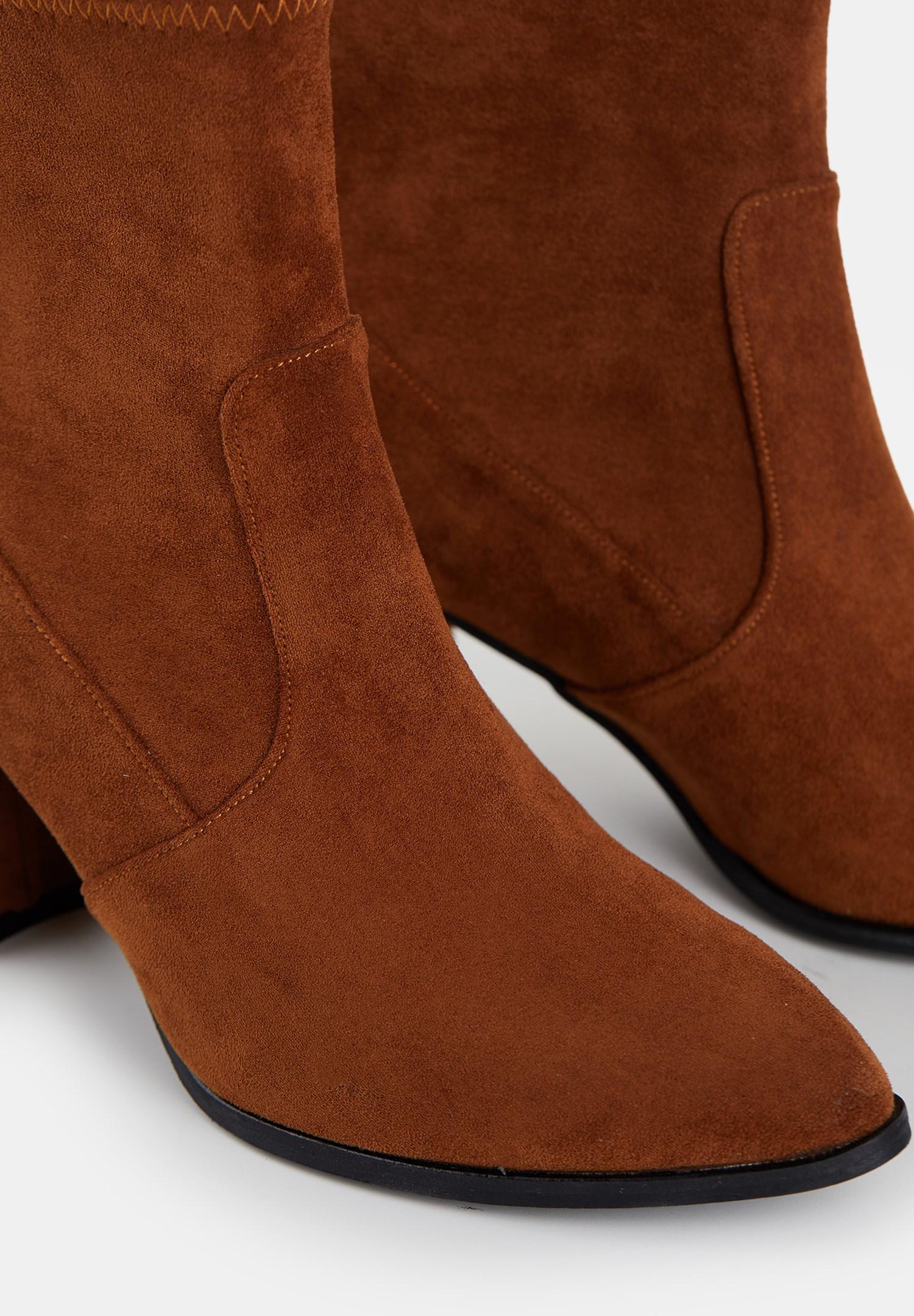 Bayan Kahverengi Süet Kalın Topuk Bot