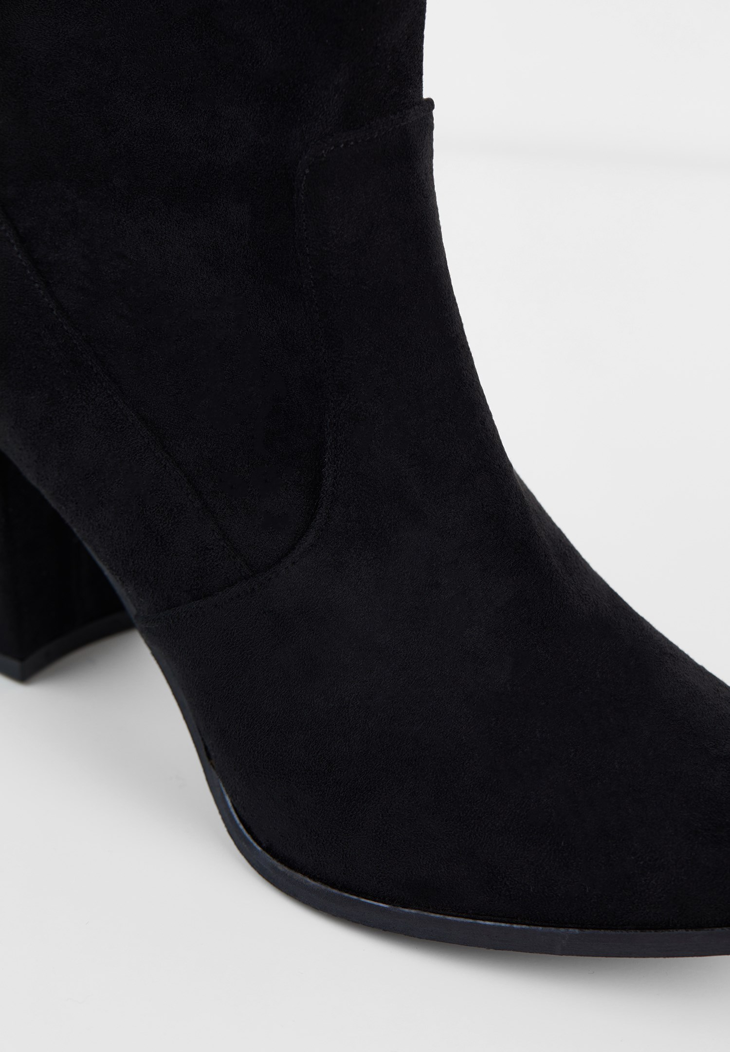 Bayan Siyah Süet Kalın Topuk Bot