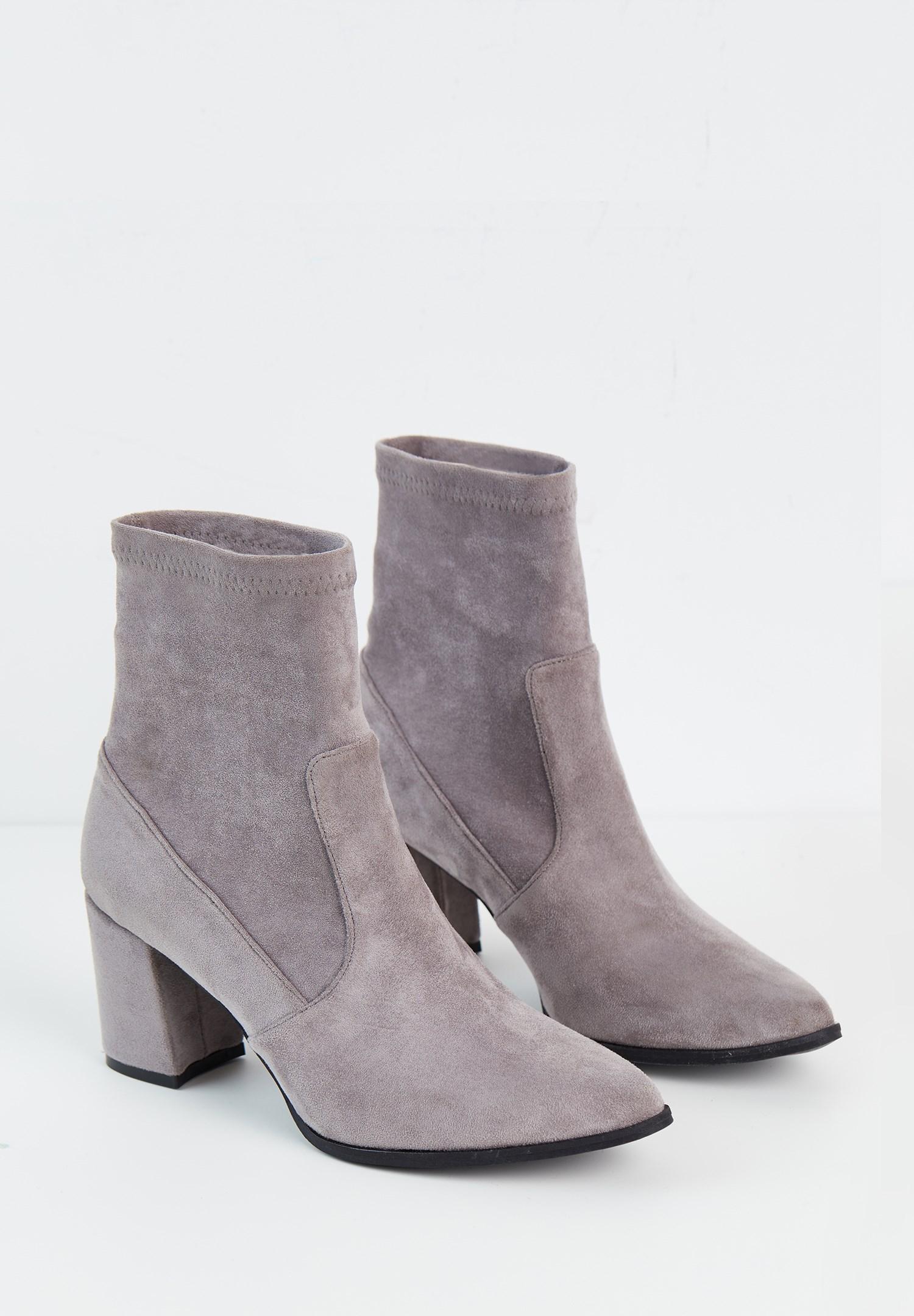 Women Grey Suede High Heel Boots