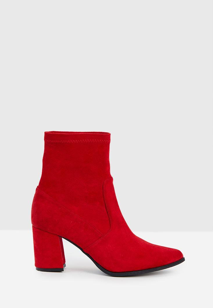 Kırmızı Süet Kalın Topuk Bot