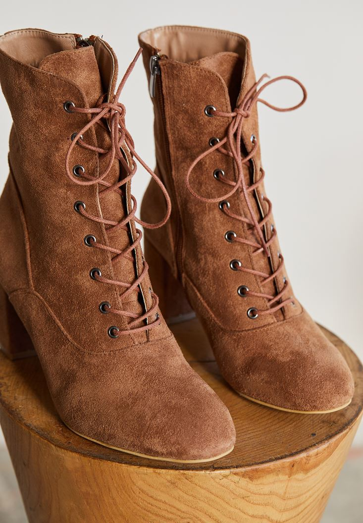 Brown High Heel Shoes with Cord Detail