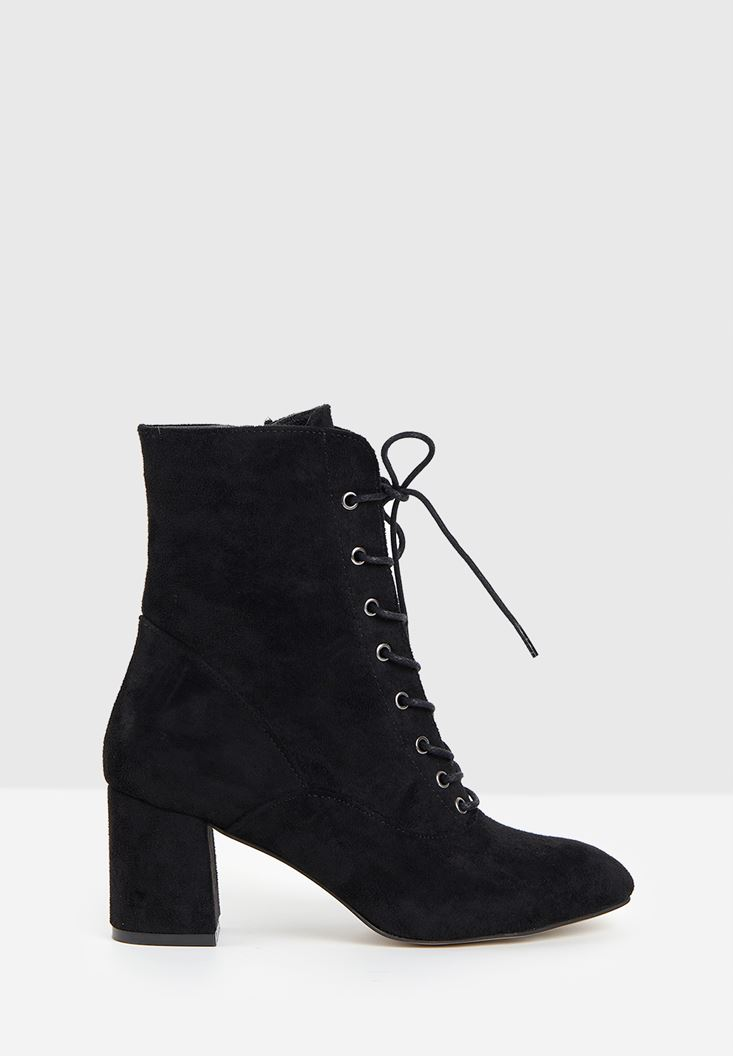 Black High Heel Shoes with Cord Detail
