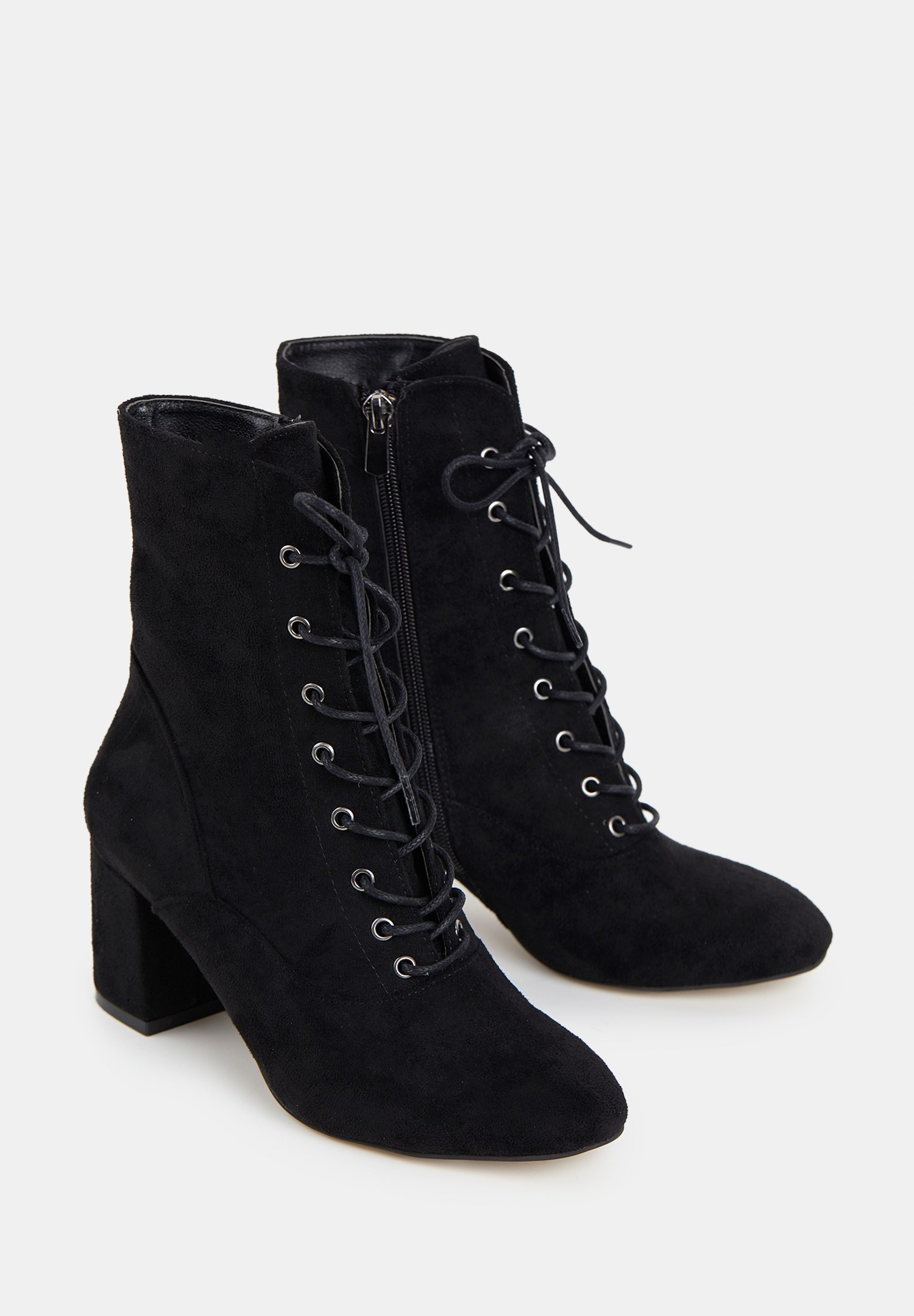 Women Black High Heel Shoes with Cord Detail