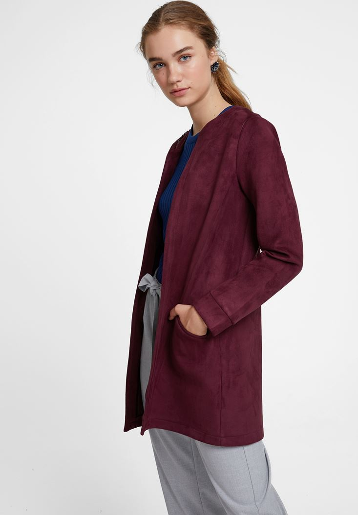 Bordeaux Suede Jacket with Pocket
