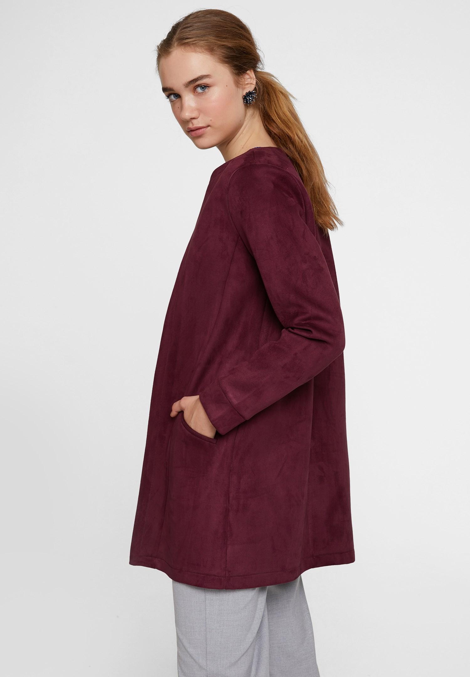 Bayan Bordo Cep Detaylı Süet Ceket