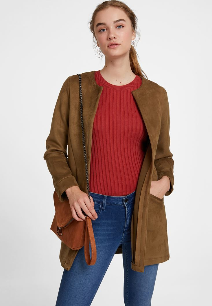 Cep Detaylı Süet Ceket