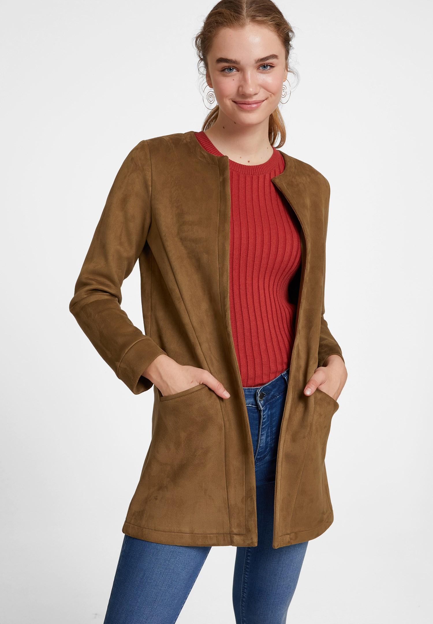 Bayan Yeşil Cep Detaylı Süet Ceket
