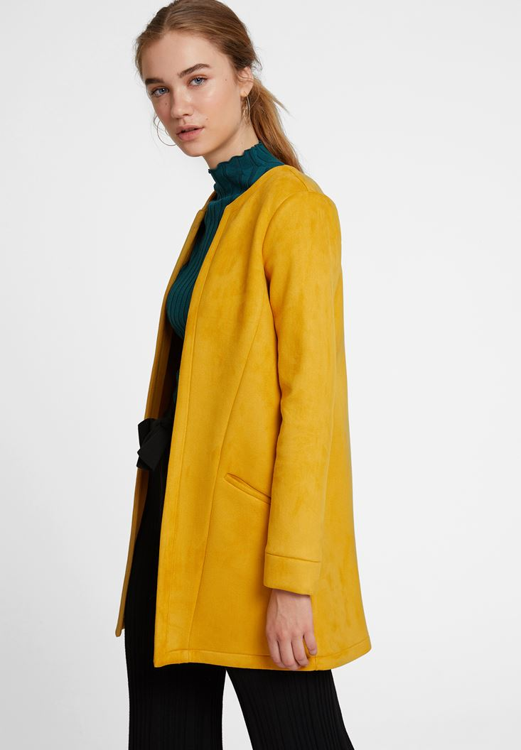Yellow Suede Jacket with Pocket