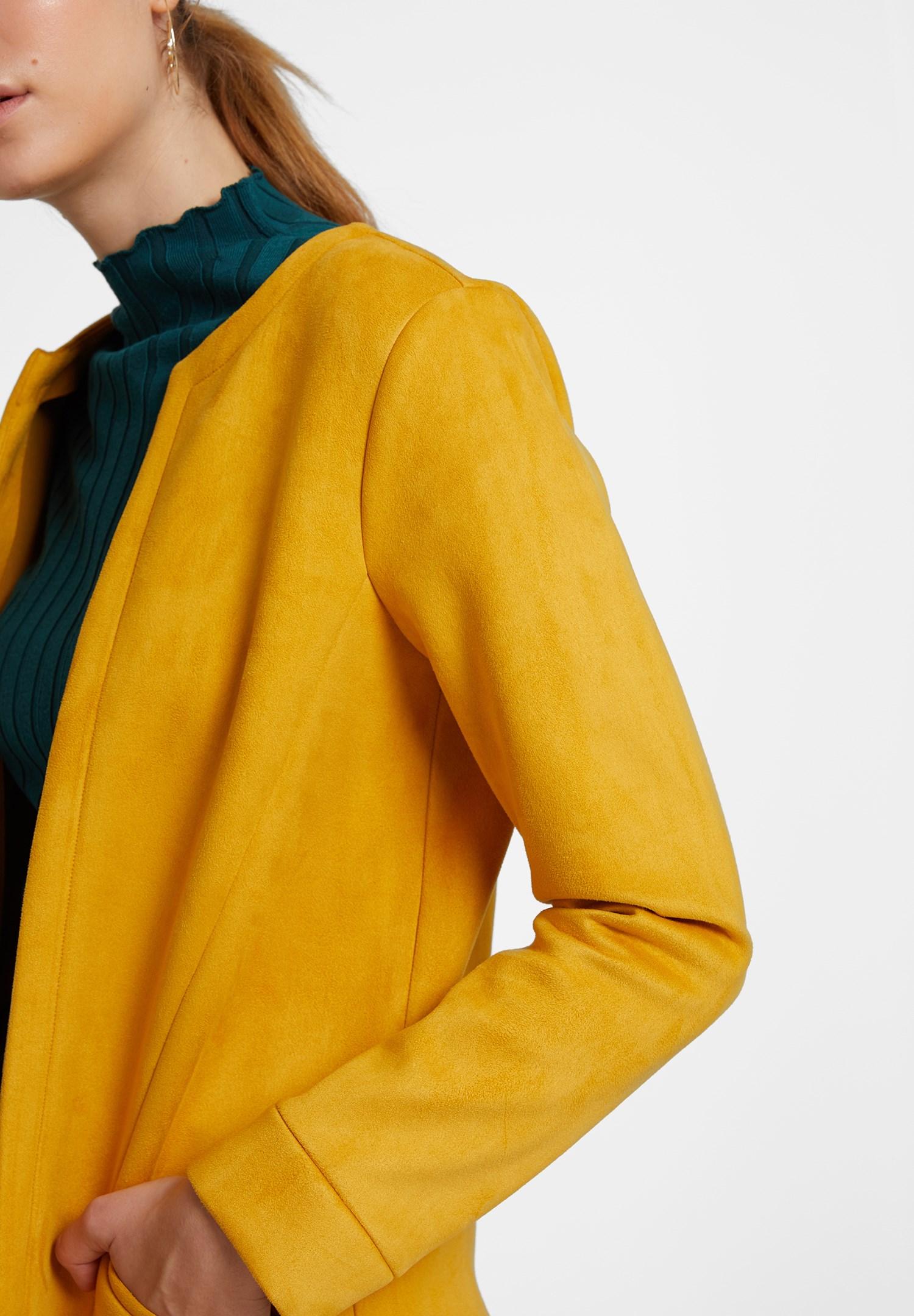 Bayan Sarı Cep Detaylı Süet Ceket