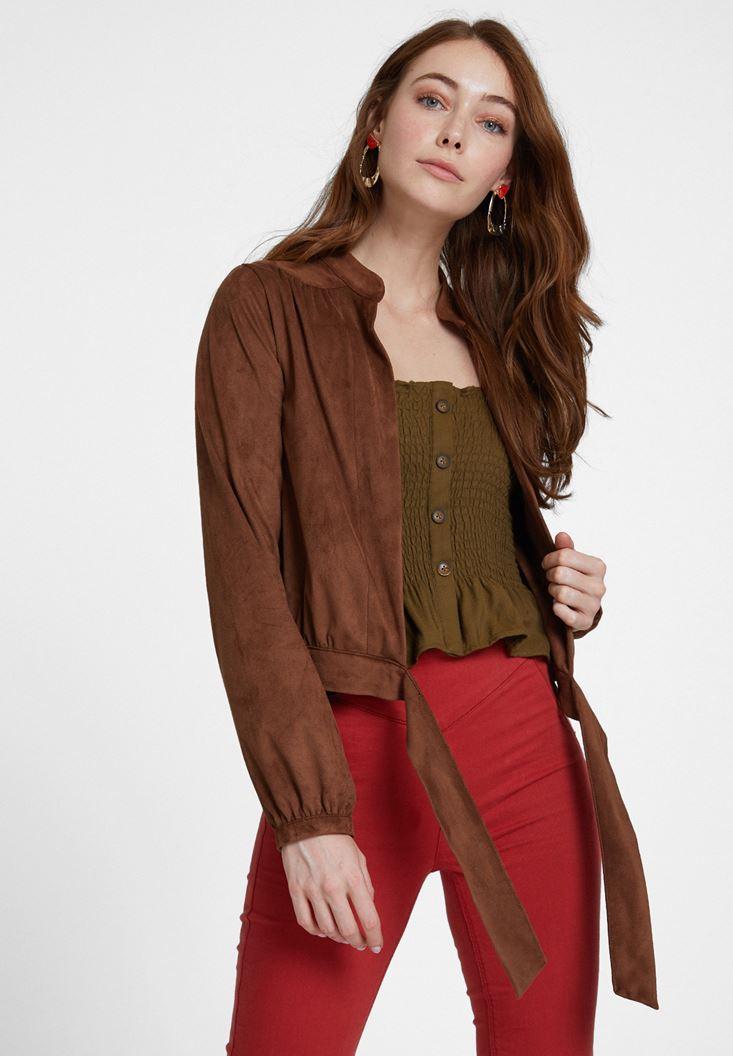 Kahverengi Bağlama Detaylı Süet Ceket