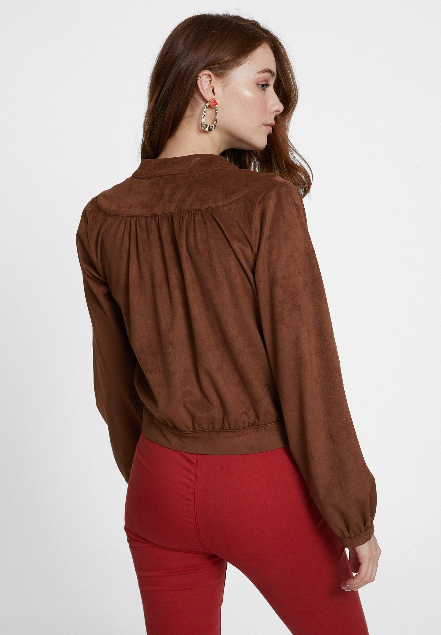 Bayan Kahverengi Bağlama Detaylı Süet Ceket