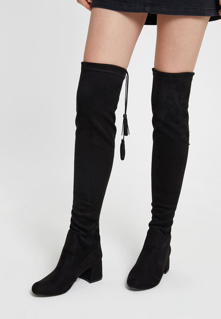 Black High Heel Boot with Detail