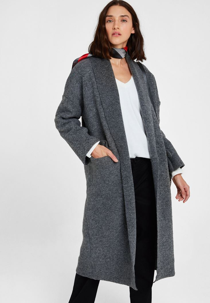 Grey Oversize Long Coat