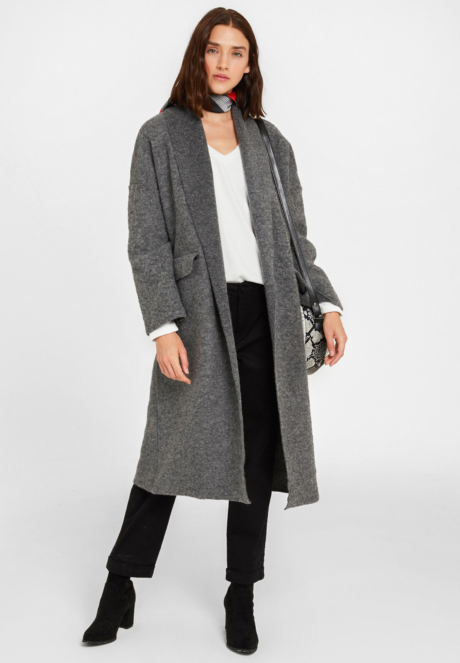 Women Grey Oversize Long Coat