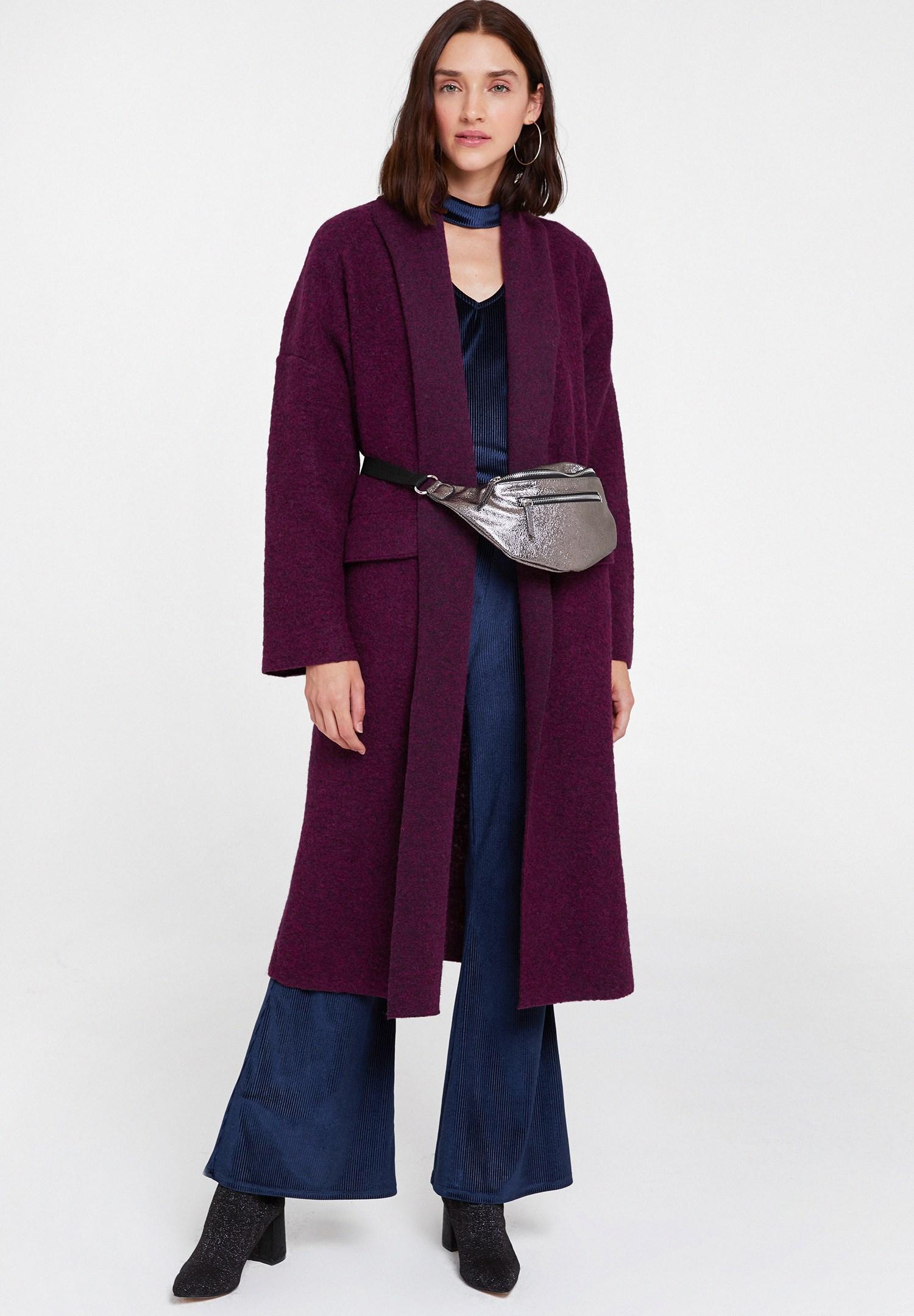 Women Purple Oversize Long Coat