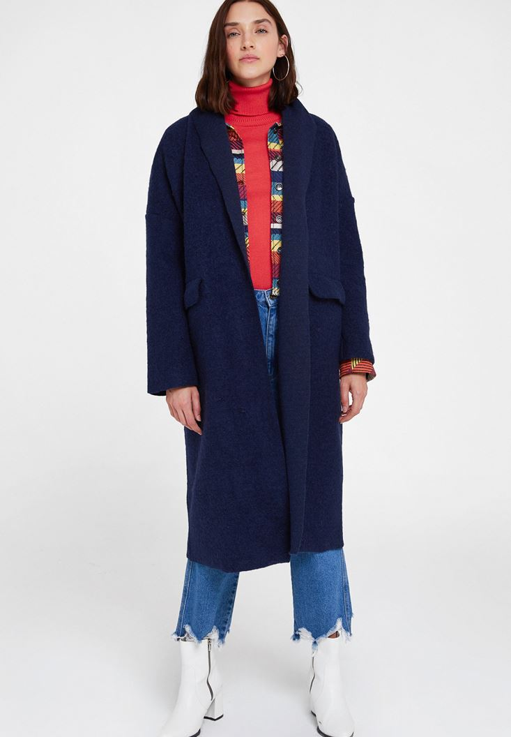 Navy Oversize Long Coat