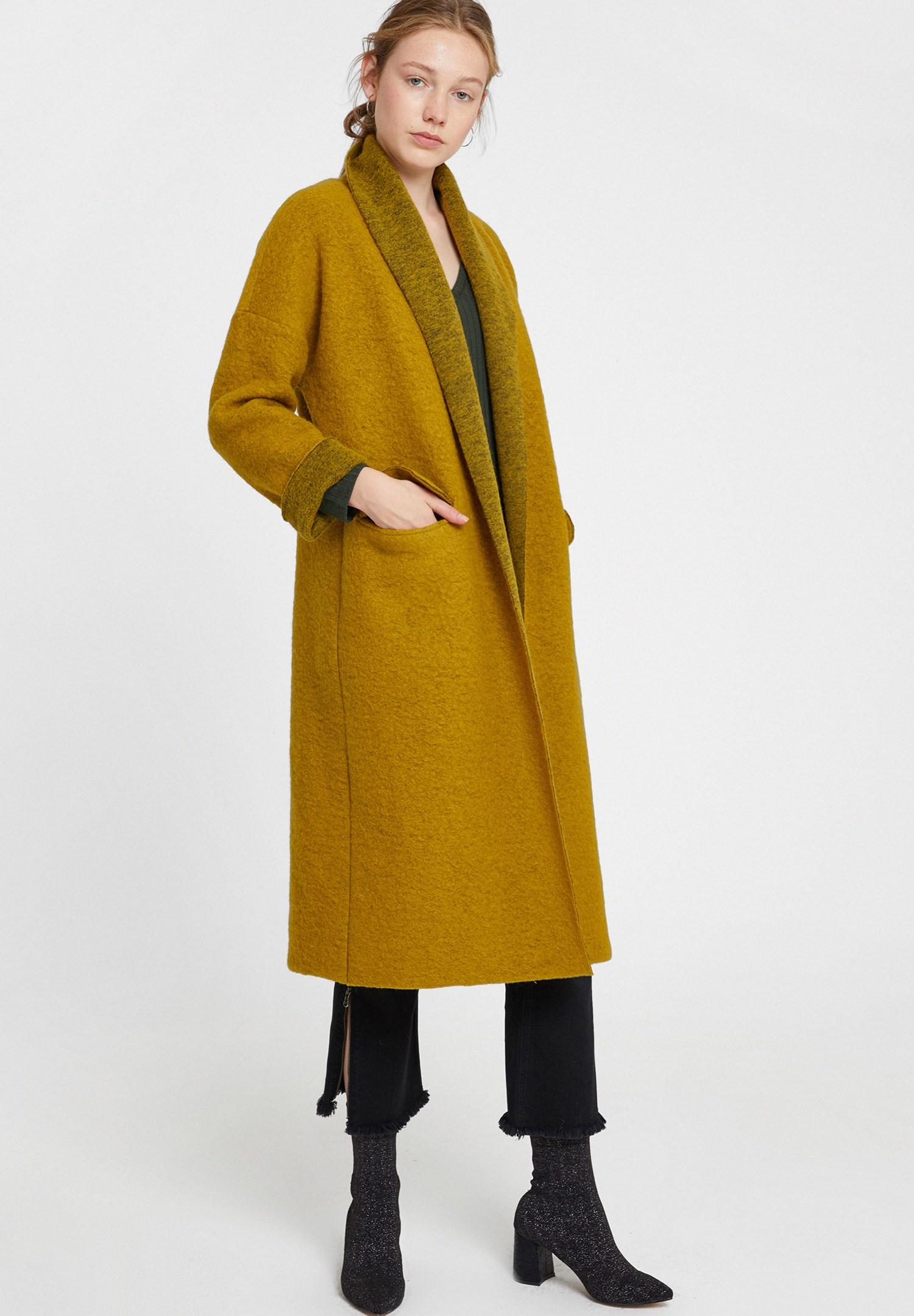 Bayan Yeşil Oversize Uzun Kaban