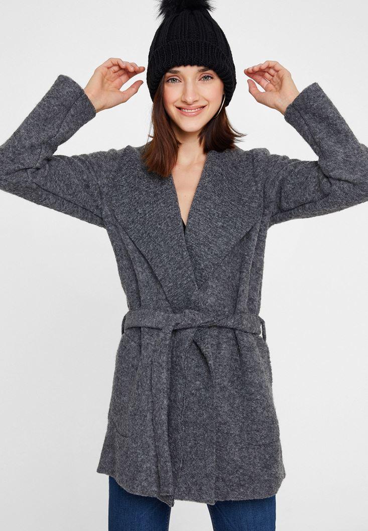 Grey Wool Coat with Belt