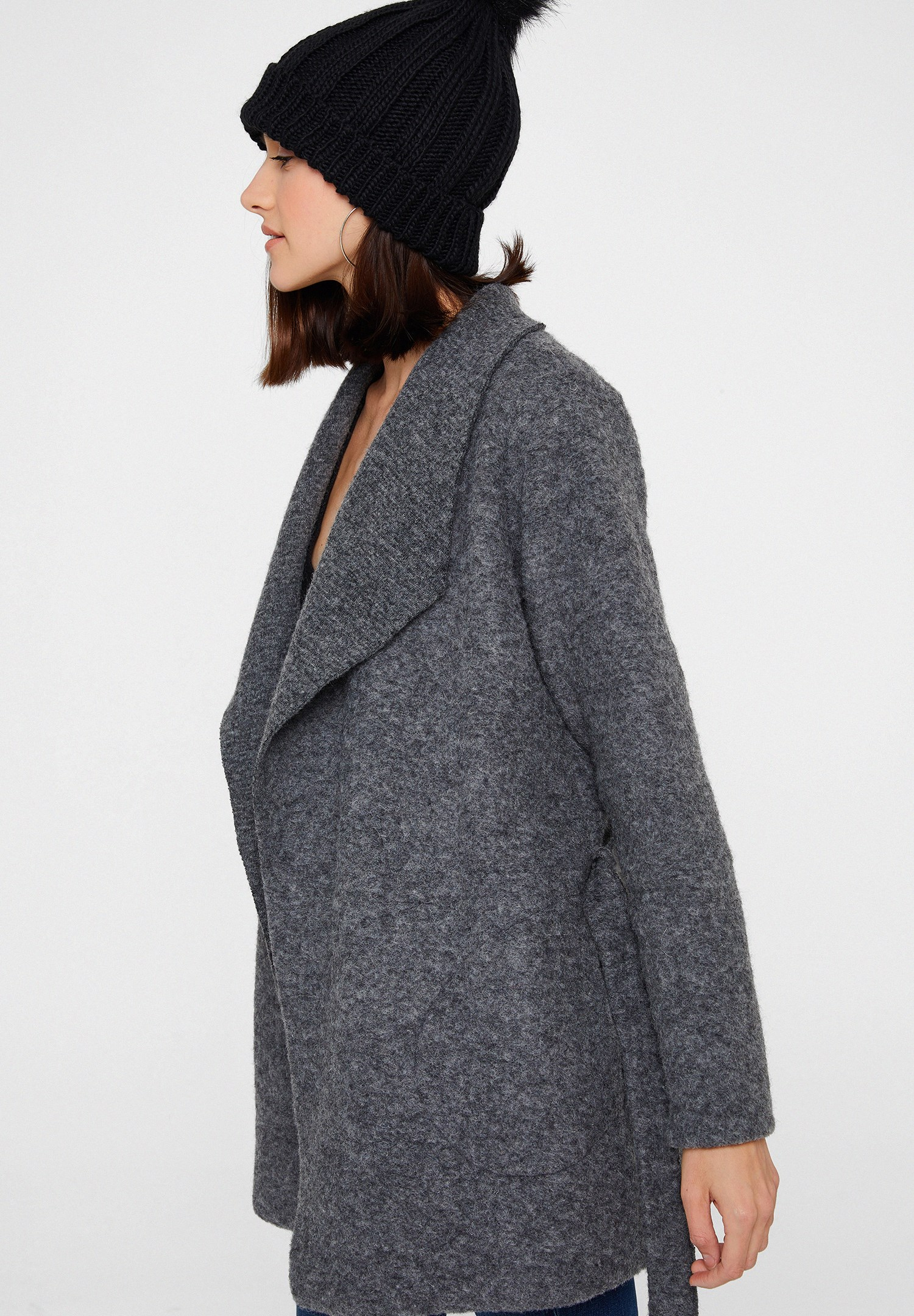 Women Grey Wool Coat with Belt