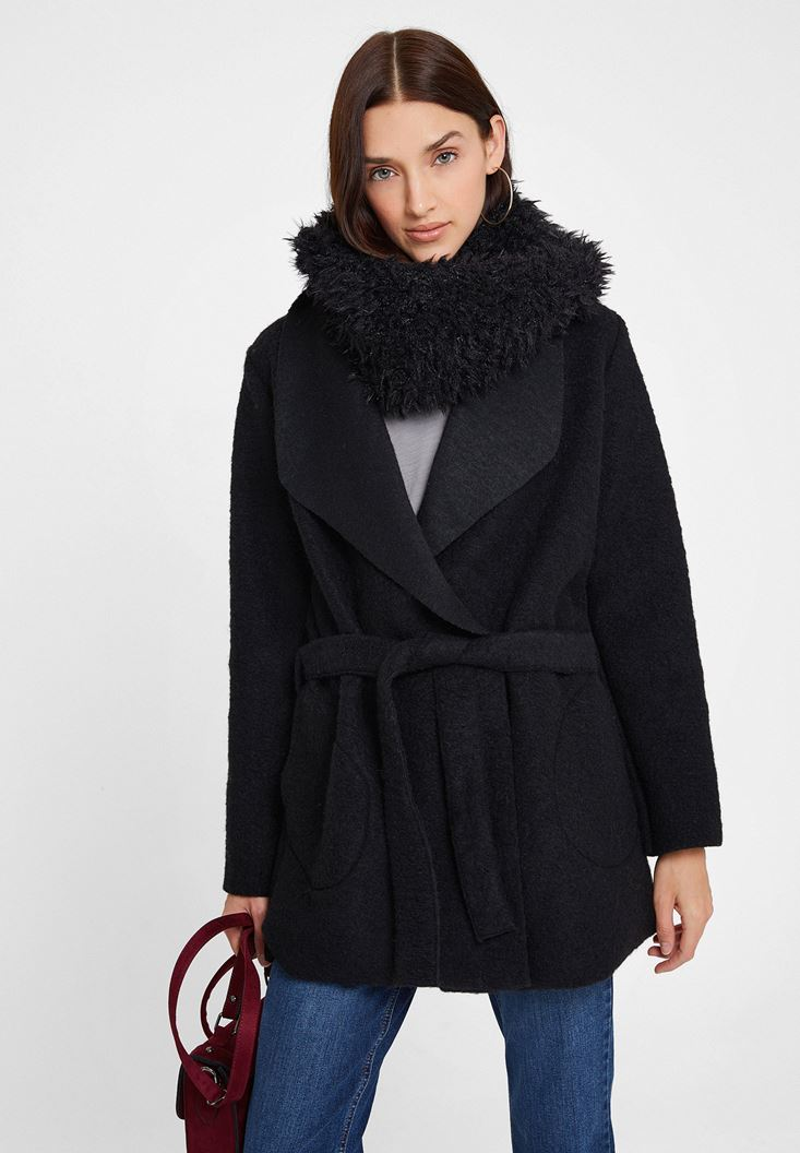 Black Wool Coat with Belt