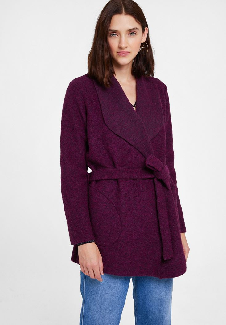 Purple Wool Coat with Belt