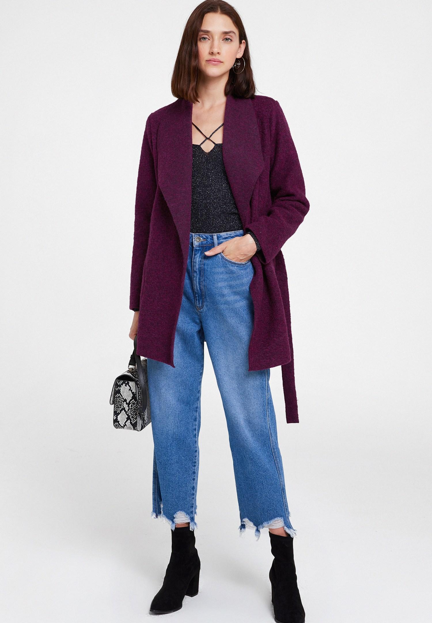 Women Purple Wool Coat with Belt