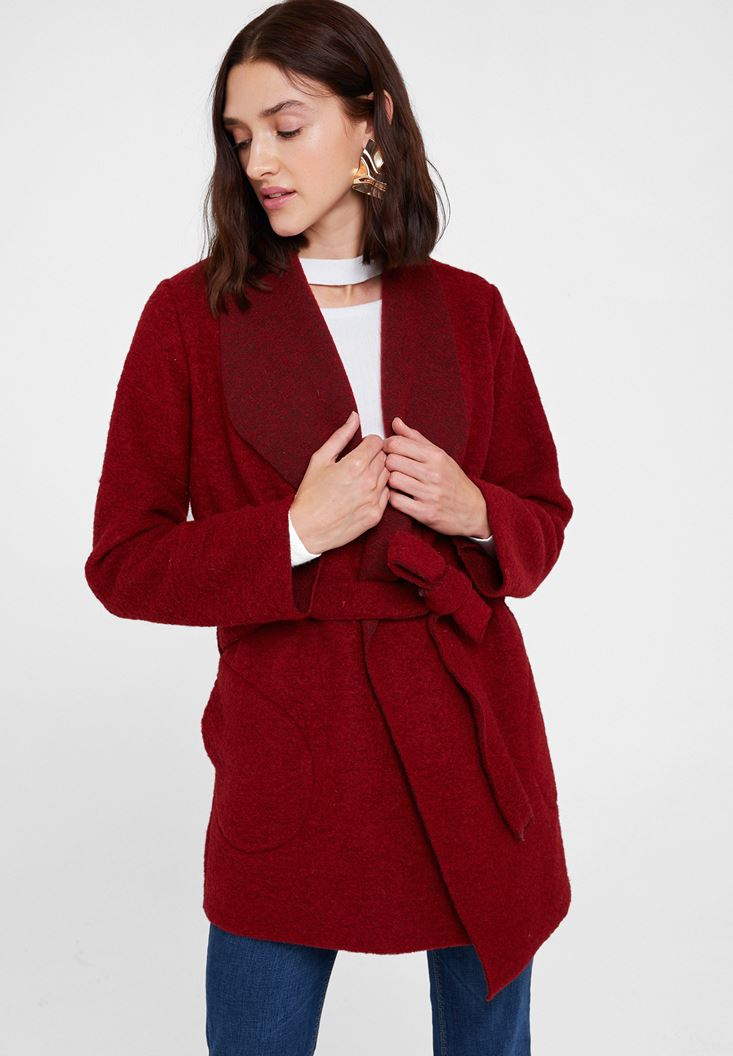 Red Wool Coat with Belt