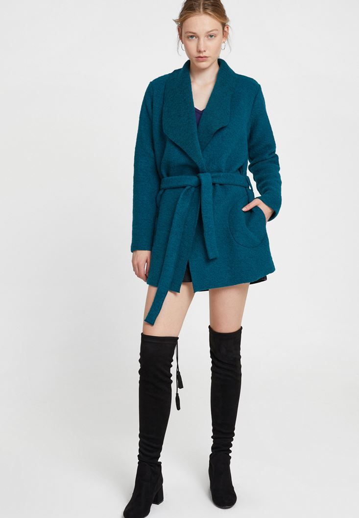 Green Wool Coat with Belt
