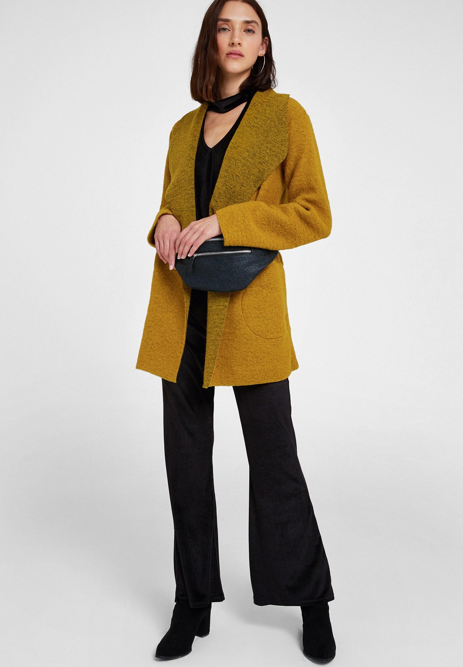 Women Green Wool Coat with Belt