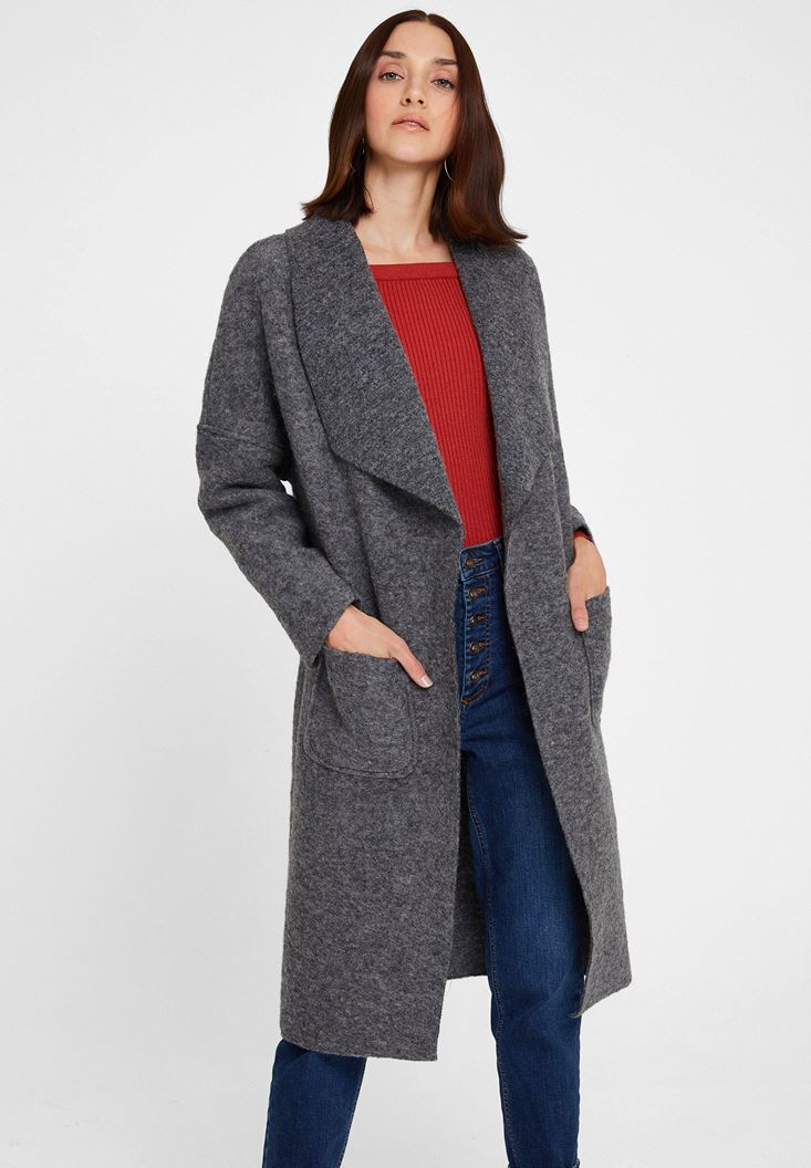 Grey Wool Jacket with Pocket