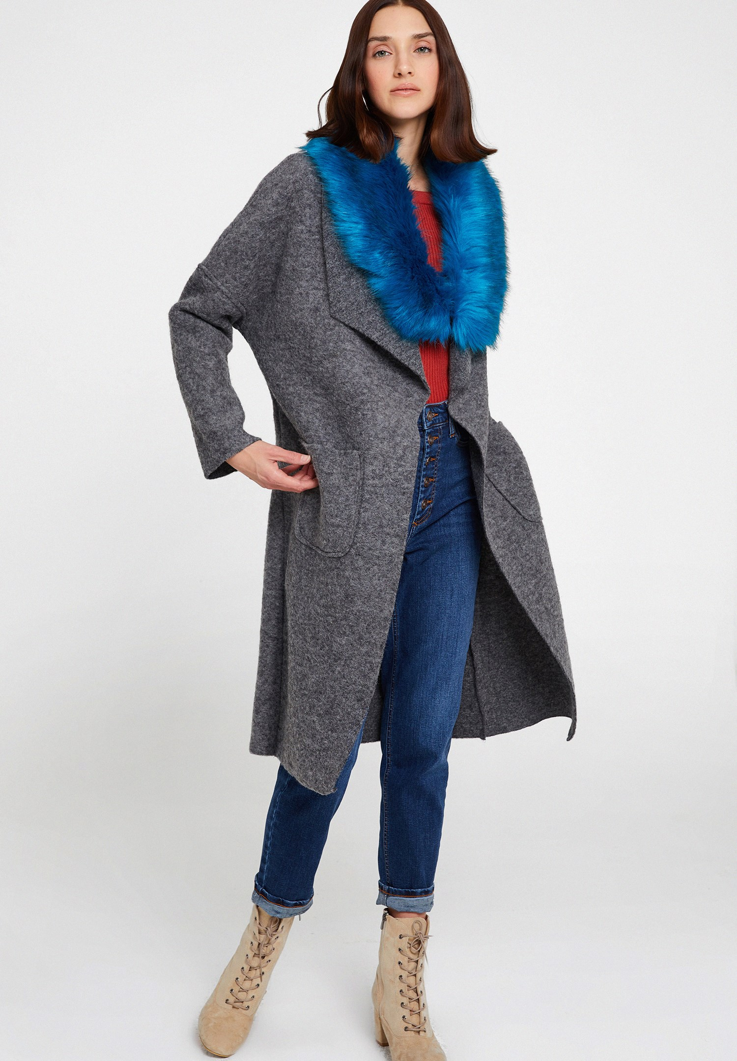 Women Grey Wool Jacket with Pocket