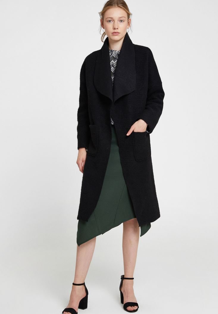 Black Wool Jacket with Pocket