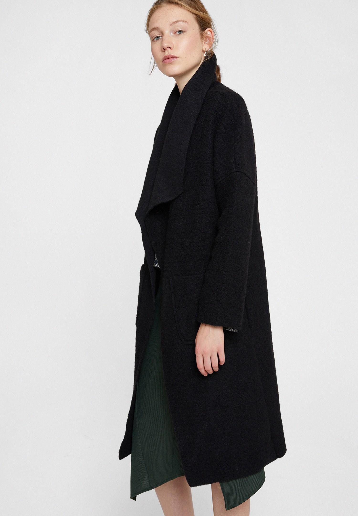 Women Black Wool Jacket with Pocket