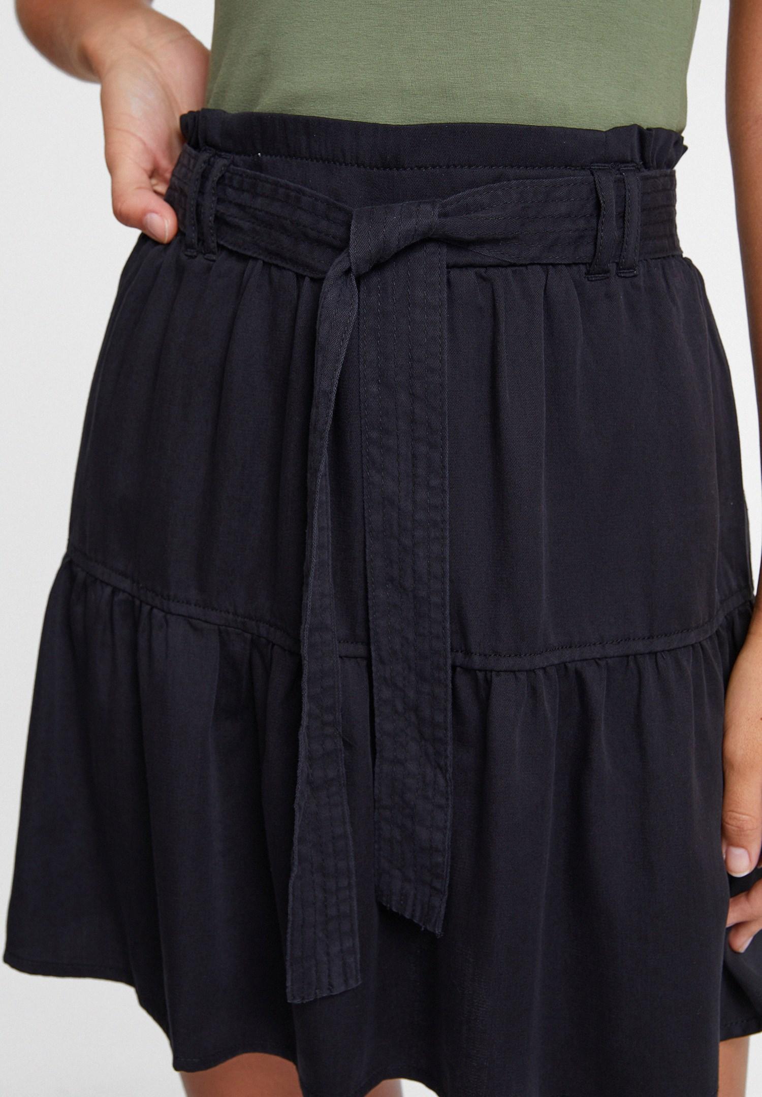 Women Black Belted Skirt