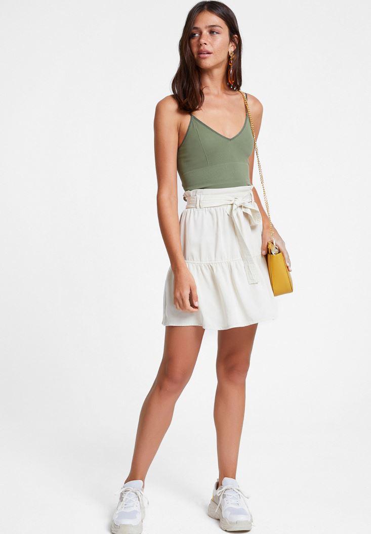 Cream Belted Skirt