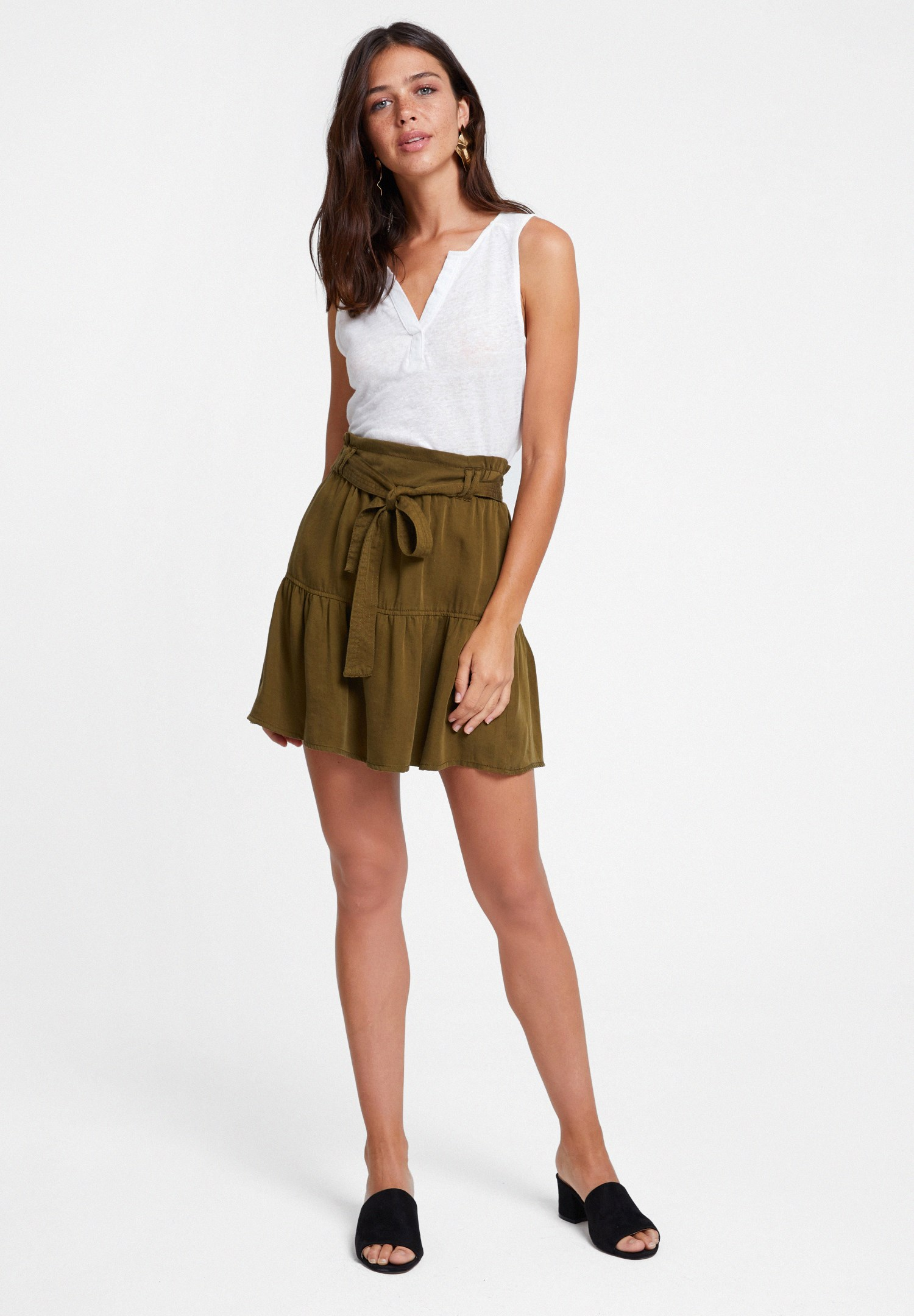 Women Green Belted Skirt