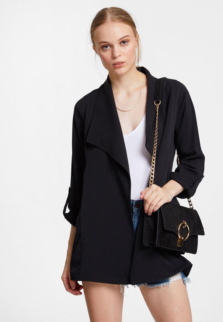 Siyah Dökümlü Cupro Blazer Ceket