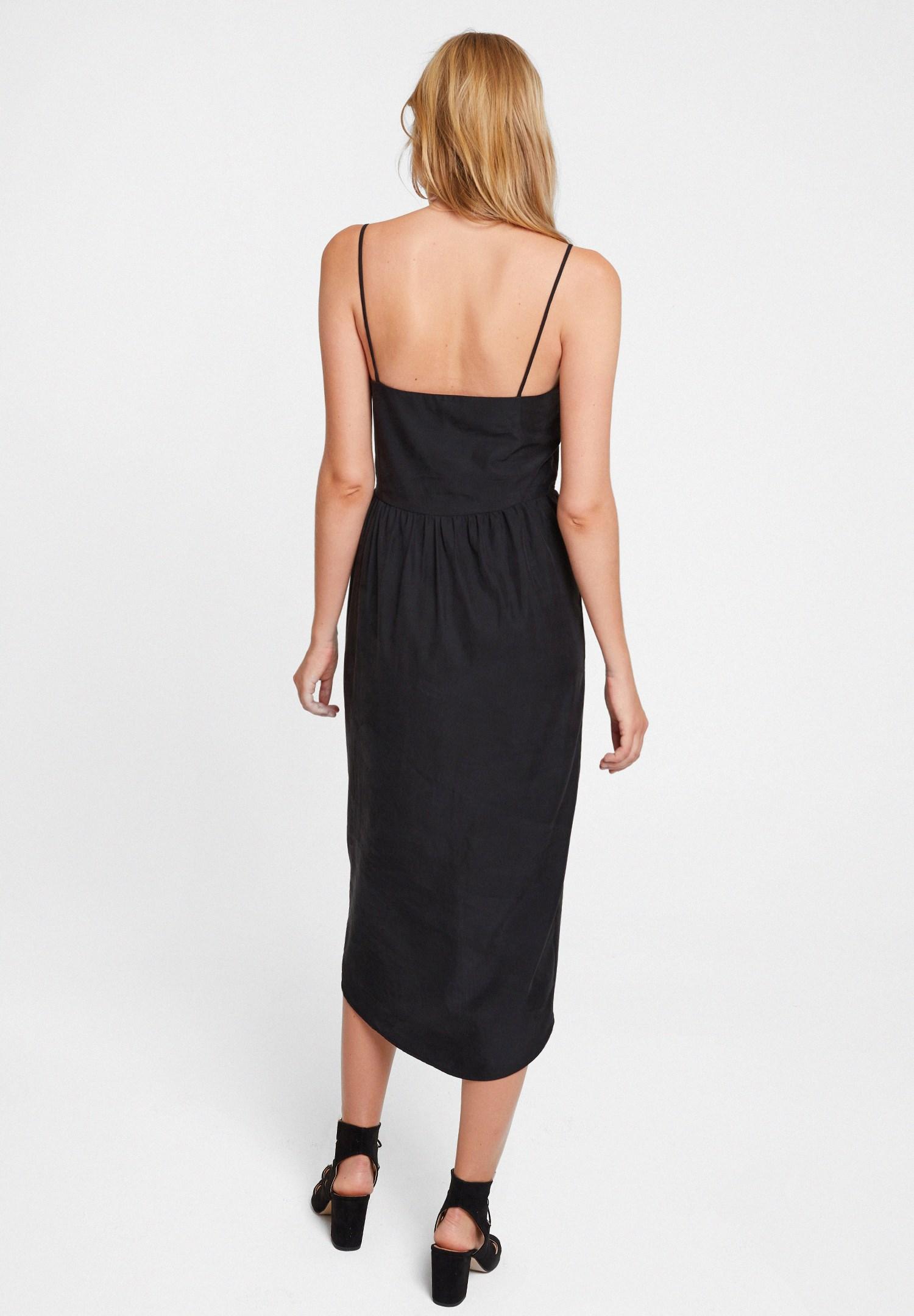 Bayan Siyah İnce Askılı Kruvaze Elbise
