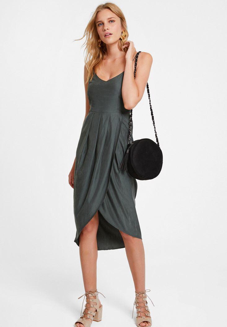 Yeşil İnce Askılı Kruvaze Elbise