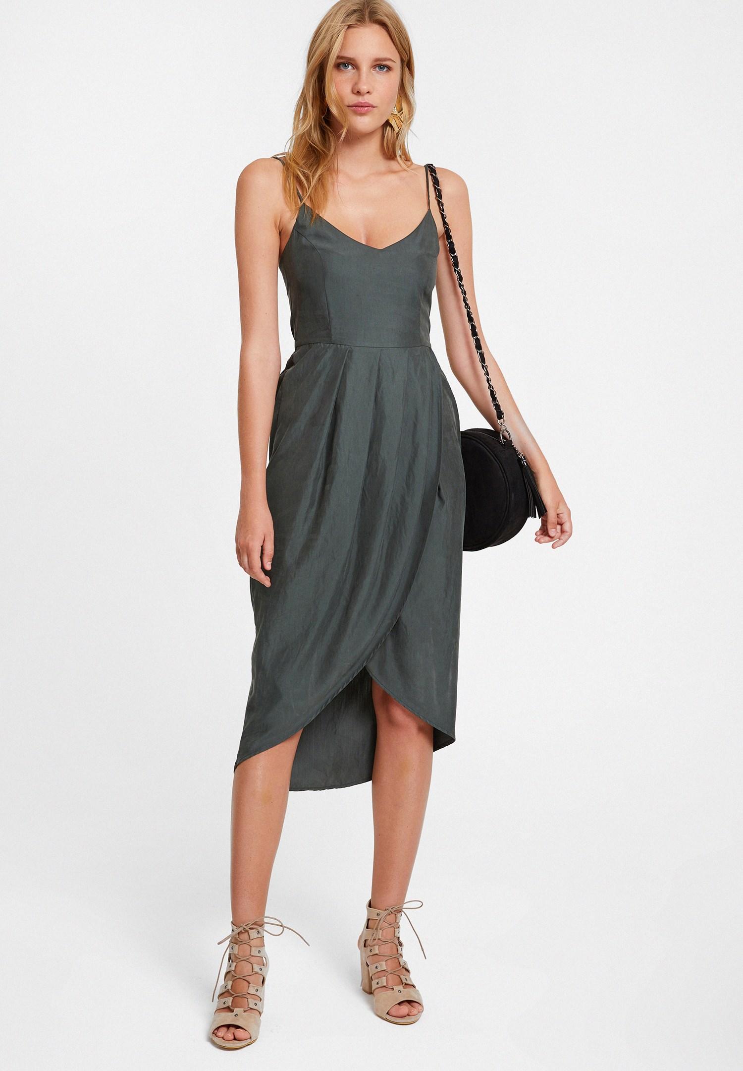 Bayan Yeşil İnce Askılı Kruvaze Elbise