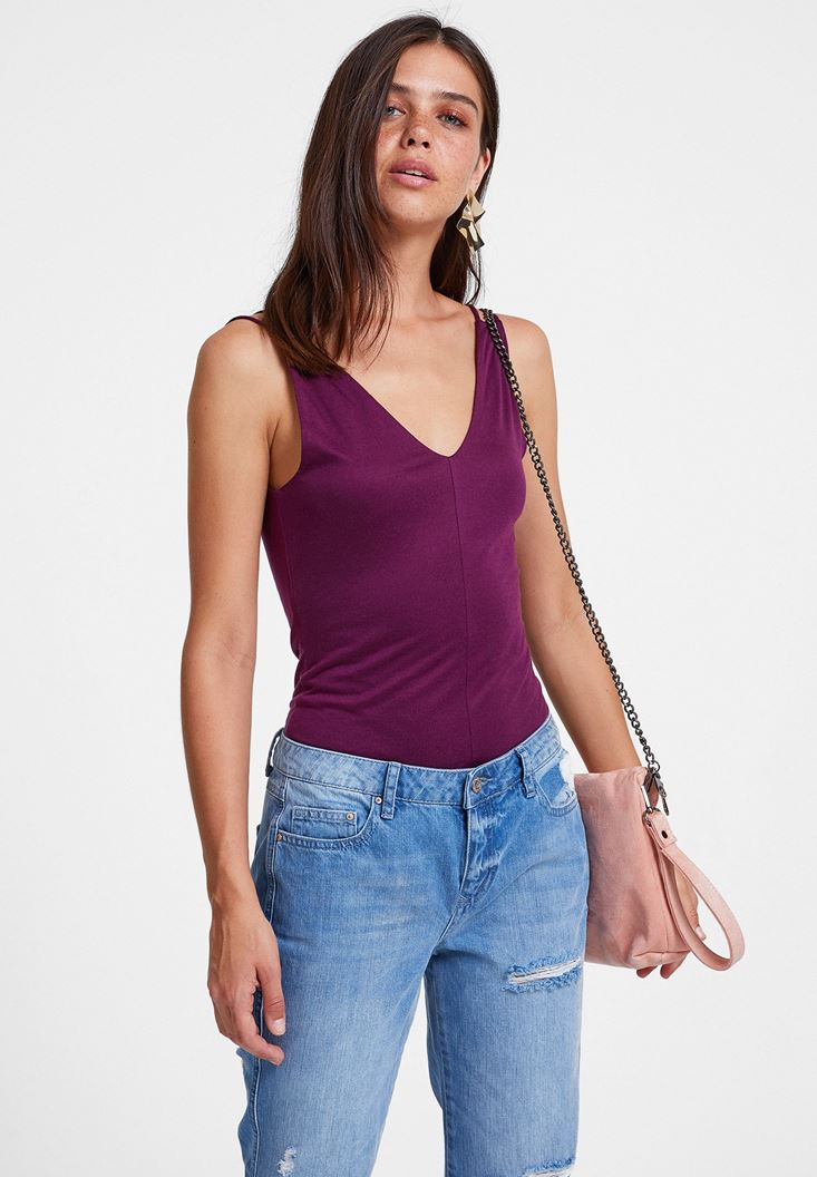 Purple Double Strappy V Neck Blouse
