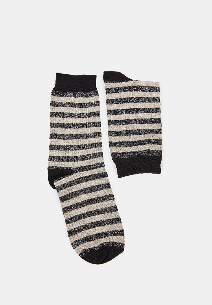 Çok Renkli Çizgili Parlak Çorap