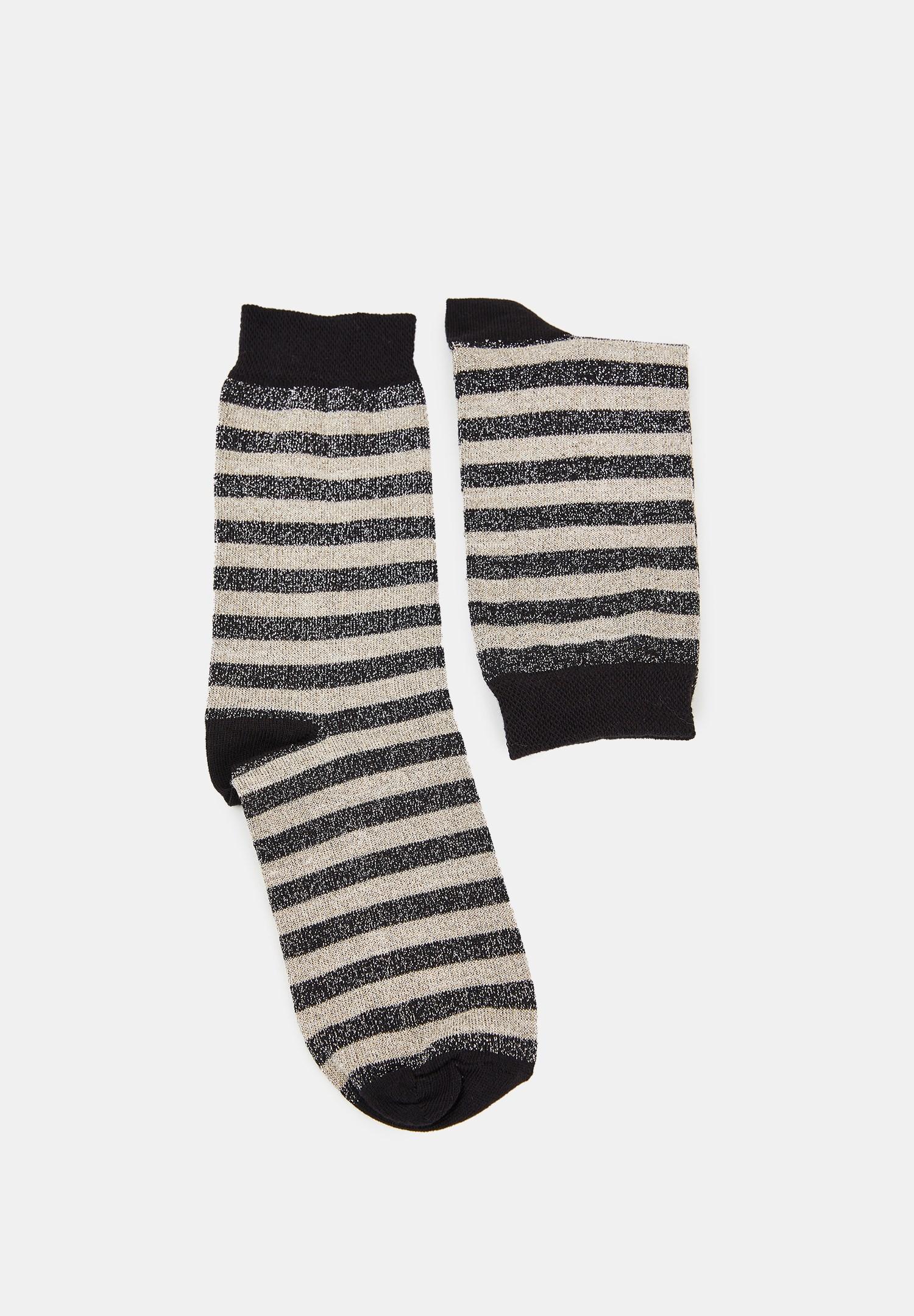 Bayan Çok Renkli Çizgili Parlak Çorap