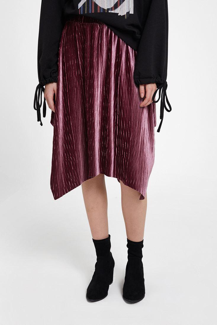 Purple Velvet Asymmetric Midi Skirt