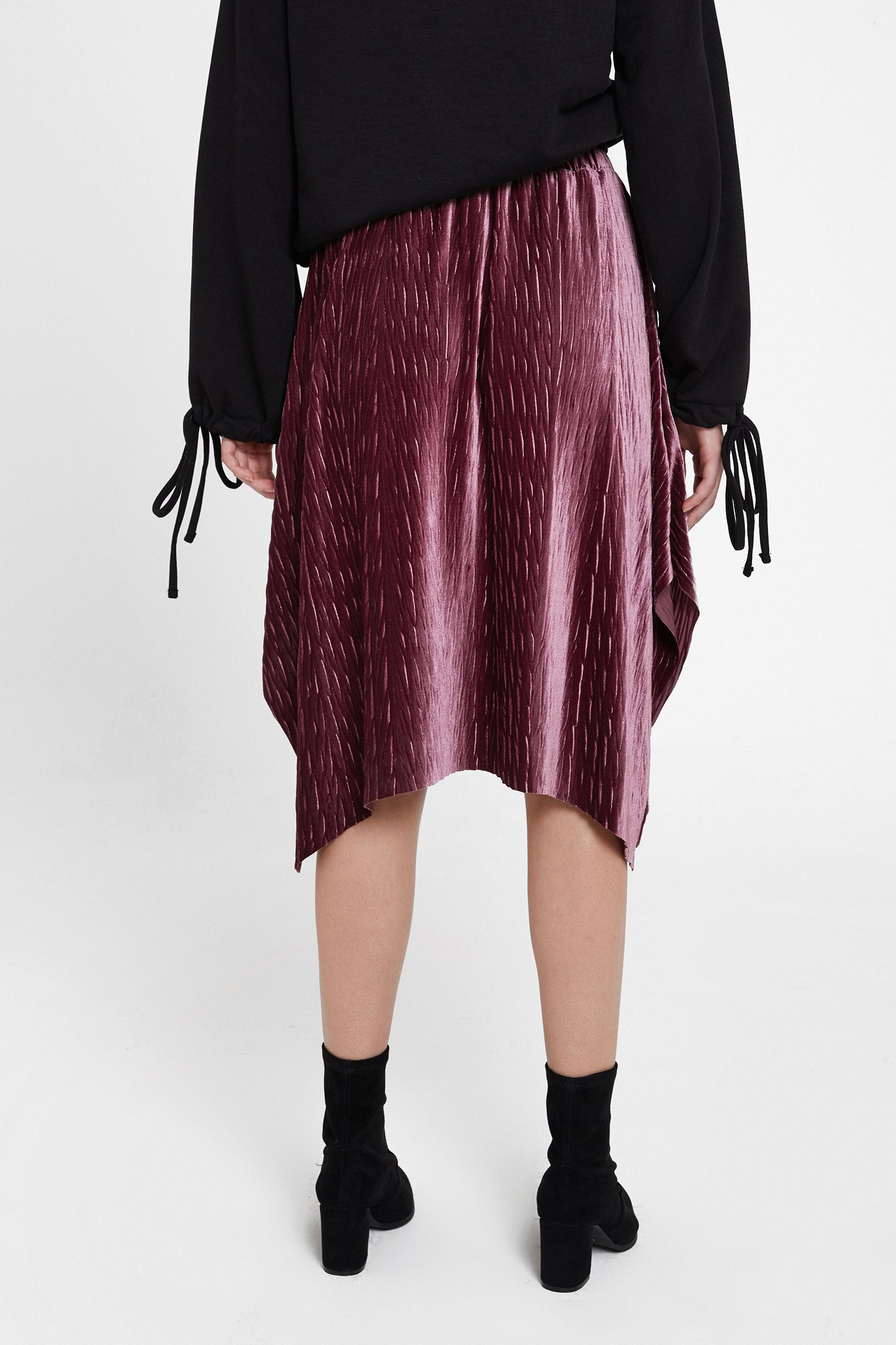 Women Purple Velvet Asymmetric Midi Skirt