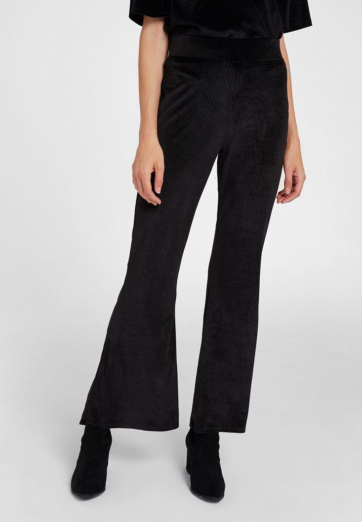 Siyah Paça Detaylı Kadife Pantolon