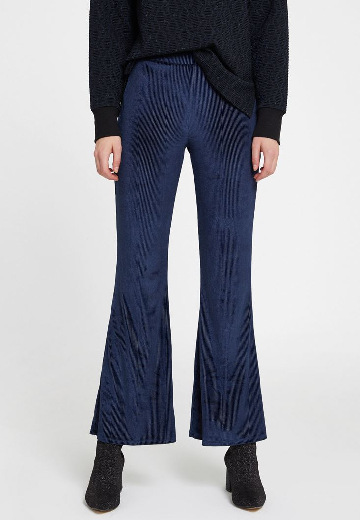 Lacivert Paça Detaylı Kadife Pantolon