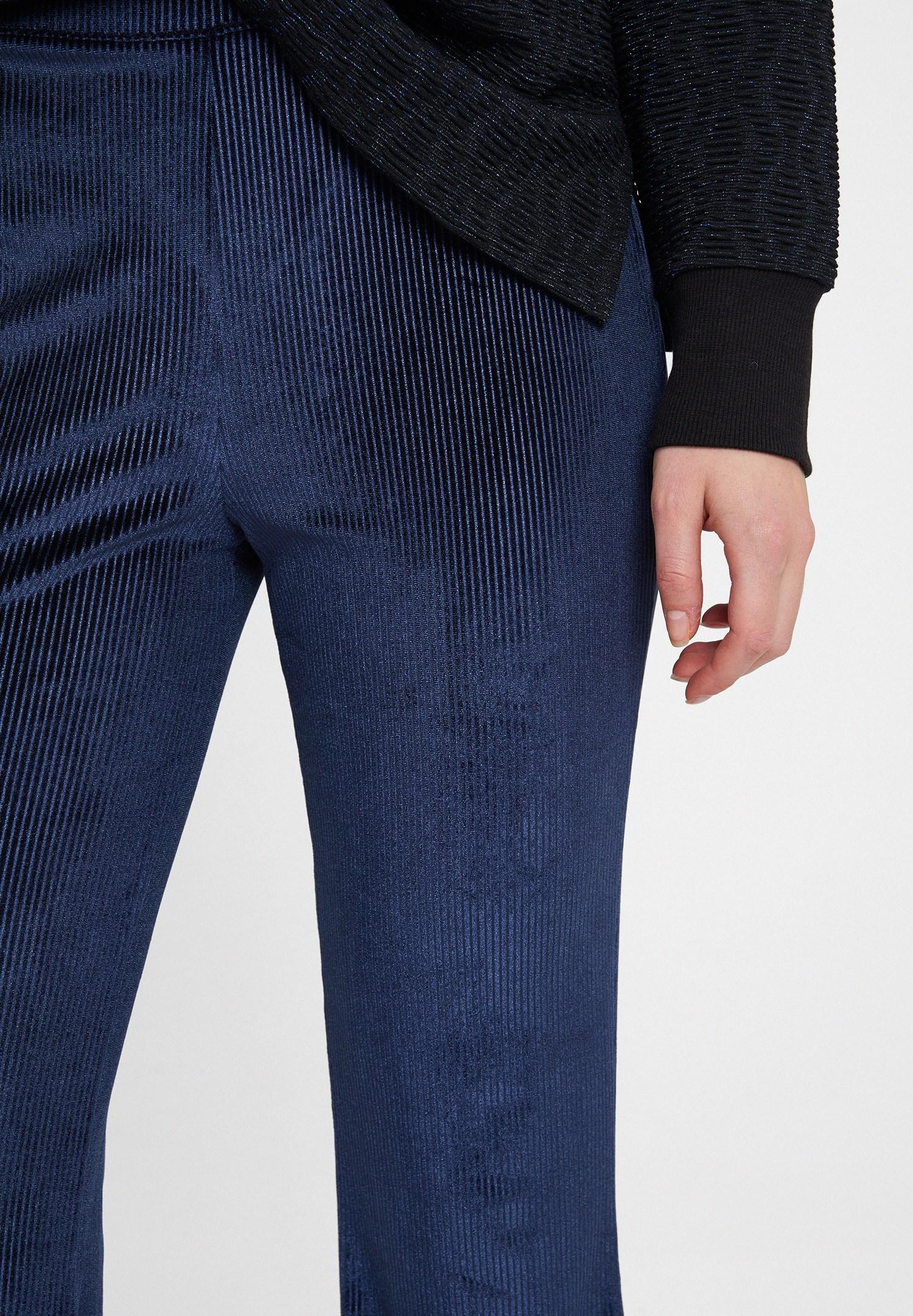 Women Navy Velvet Trousers with Details