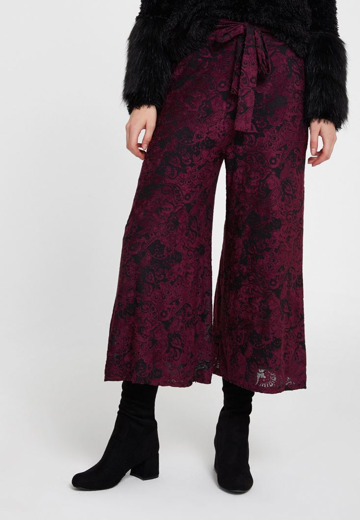 Bordeaux Velvet Trousers with Belt